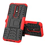 LUSHENG Funda para Nokia 7.1, Protección de Alto Rendimiento, Suave TPU Antideslizante Doble Capa Prueba Golpes + PC Dura, con Soporte Invisible - Rojo