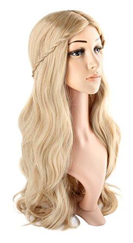 Discoball Parrucca bionda da donna per cosplay, travestimenti e feste, con retina inclusa
