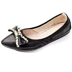 Black-1 Foldable Ballet Flats Rhinestone Pointed Toe Slip on
