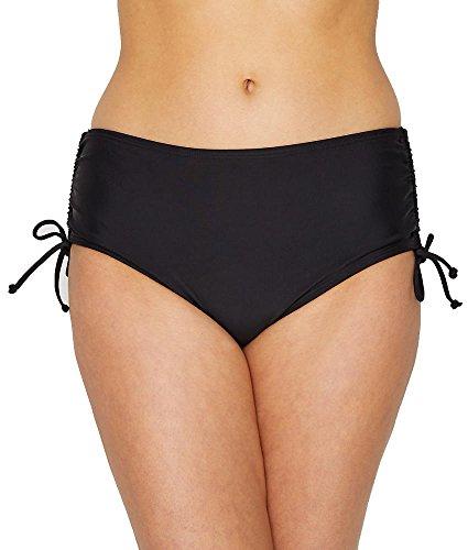 24th & Ocean Women's High Waist Side Tie Hipster Bikini Swimsuit Bottom, Black, Large