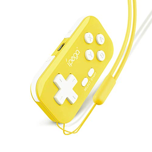 Negaor PG-9193 Mini Wireless Game Controller with Six-axis Motion Sensing Technology/Vibration Function BT Gamepad Compatible with N·S/PS3/Android/Steam/Window PC Yellow DC1