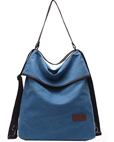 Travistar Damen Canvas Schultertasche Rucksack Groß Handtasche Vintage Damen Umhängentasche Anti Diebstahl Tasche Damen Hobo Tasche für Alltag Büro Schule Ausflug Einkauf (Blau)