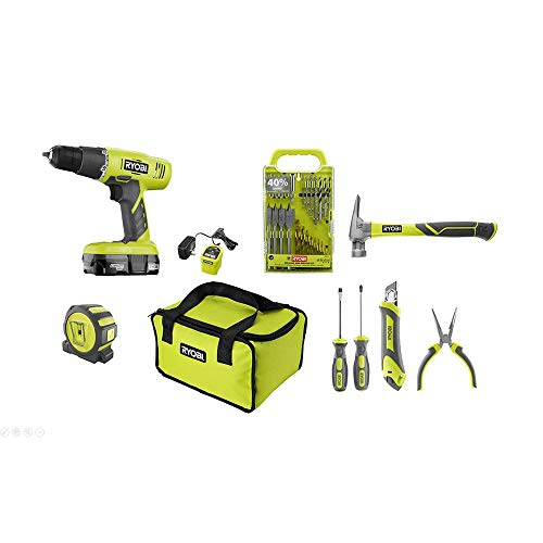 Ryobi P1971N Drill/Driver 18-Volt ONE+ Home Owners Starter Kit (11 Piece Bundle, 1x P209 Drill/Driver, 1x P119 Dual Chemistry Charger, 1x P102 18V Battery, 1x Tool Bag)
