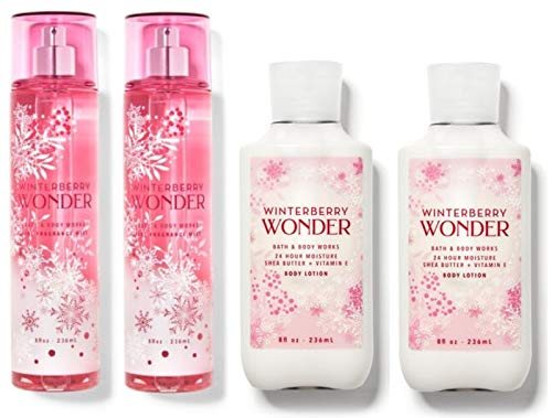 Bath and Body Works WINTERBERRY WONDER Value Pack - 2 Body Lotions and 2 Fragrance Mist - Full Size