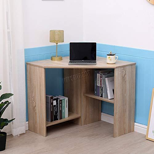 WestWood PC Computer Desk Corner Wooden Desktop Table With 2 Shelf Home Office Workstation Modern Furniture CD17 Oak