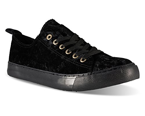 Twisted Damen-Sneaker aus Kunstleder, niedrig geschnitten, Schwarz (Black velvet), 40 EU