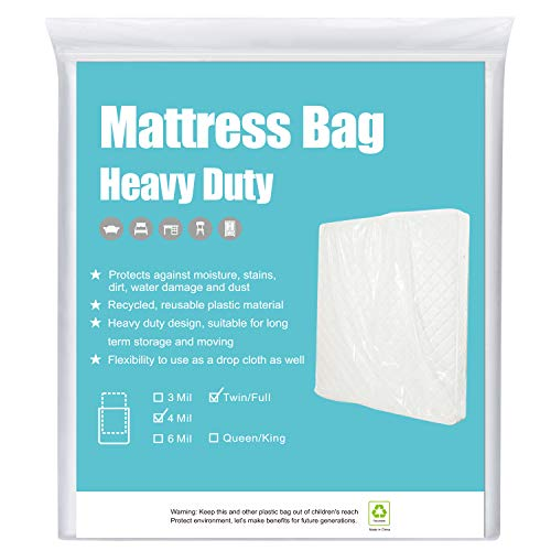 HOMEIDEAS 4 Mil Super Thick Mattress Bags for Moving Twin/Full, Heavy Duty Mattress Moving Bags for Long Term...