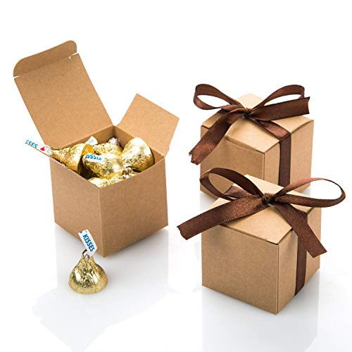 AWELL Kraft Gift Candy Box Bulk 2x2x2 inches with Brown Ribbon Party Favor Box,Pack of 50