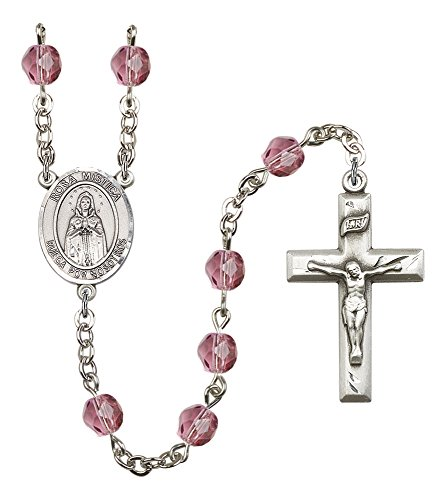 Silver Plate Rosary Features 6mm Amethyst Fire...