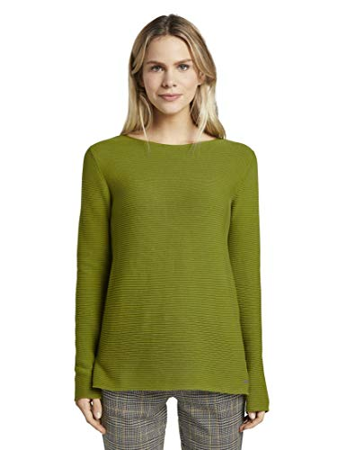 TOM TAILOR Damen Pullover & Strickjacken Pullover mit Strickmuster Wood Green,L