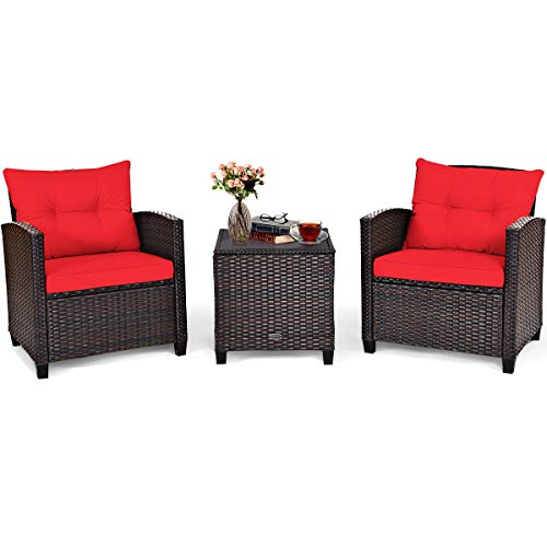 Tangkula 3 Pieces Patio Furniture Set, PE Rattan Wicker 3 Pcs Outdoor Sofa Set w/Washable Cushion and Tempered Glass Tabletop, Conversation Furniture for Garden Poolside Balcony (Red)