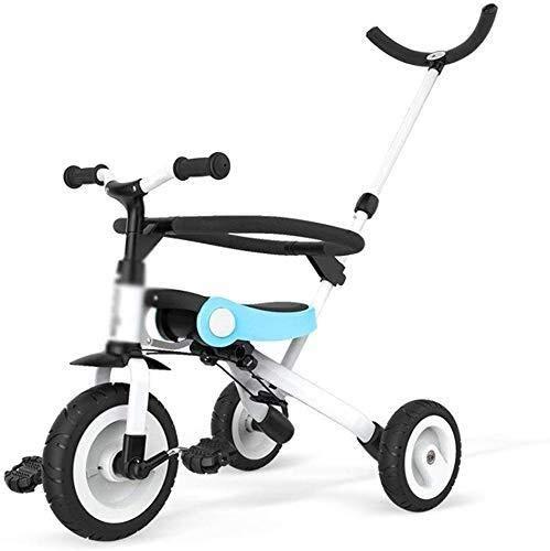 MYERZI Absorción de Impacto Bicicletas for niños Triciclo for niños Muchacho y niña Scooter Preescolar 3~10 años de Edad Bicicleta Ligero Ligero Cochecito de bebé (Color: Azul, Tamaño: 55x44x59cm)
