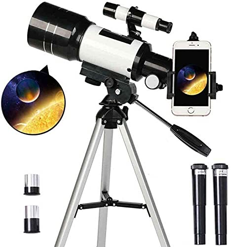 GAXQFEI Telescopio Astronómico Refractor, 70 Mm Telescopio de Apertura de Montaje Az para Niños Y Principiantes con Visor Trípode Ajustable Adaptador de Teléfono Inteligente Telescopio de Viaje