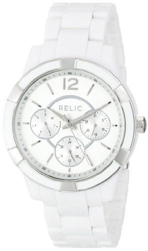 Relic by Fossil Women's Payton Quartz Stainless Steel and Acetate Casual Watch, Color: Silver, White (Model: ZR15699)