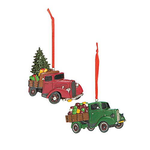Fun Express Vintage Truck Ornaments, Country Christmas Ornaments, Set of 12'