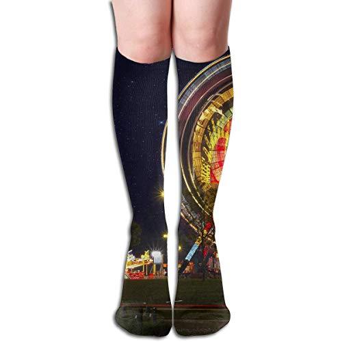 YudoHong Calcetines de mujer hasta la rodilla y muslo largo calcetín de carnaval rueda de la noria de invierno cálido sexy stock
