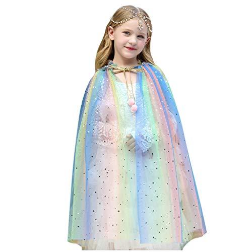 Lazzboy Kleinkind Baby Mädchen Tüll Cape Kostüm Weihnachten Schal Cosplay Outfit Halloween Kinder Prinzessin Umhang Pailletten Fee Für Karneval Fasching Party(Mehrfarbig,M)