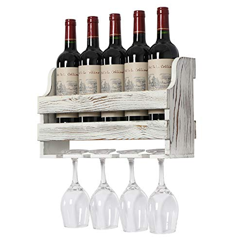 OROPY Rustic Wood Wall Mounted Wine Rack Holds 5 Wine Bottles and 4 Stemware Glass Holder Decorative for Home Bar Dining Room Kitchen Rustic White