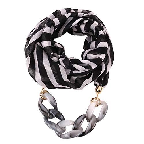 Dorical Damen Schal Halsketten, Schal Perlen Halstuch mit Schmuck/Halskette Modeschmuck Anhänger Schals & Tücher Jahrgang böhmischen Stil mit Schnalle Kette Quasten Schal Halskette(X,One size)