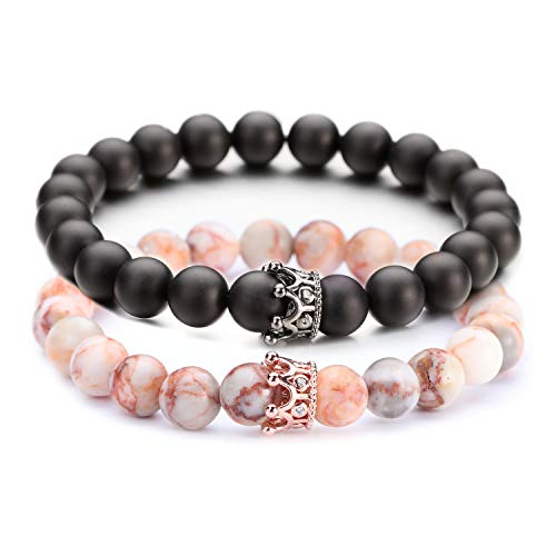 """POSHFEEL 8mm Natural Stone CZ Micro Pave Crown King Queen Beads His and Hers Couple Bracelet, Black Matte Agate & Red Network Stone, 7.5"""""""