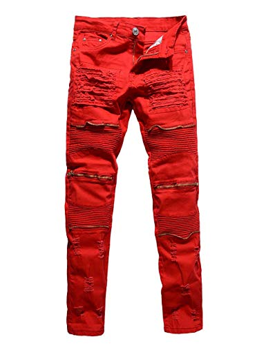 Rexcyril Men's Moto Biker Jeans Distressed Ripped Skinny Slim Fit Denim Pants with Zippers Red W34