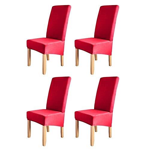 4pcs color sólido cubierta de la silla del estiramiento Presidente del protector antideslizante extraíble lavable for una silla de comedor del hotel Decoración De Restaurante Desmontable Y Lavable