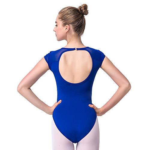 Bezioner Ballett Trikot Turnanzug Rückenfrei Gymnastikanzug Mesh Tanzbody Tanztrikot für Mädchen und Damen Blau XXL