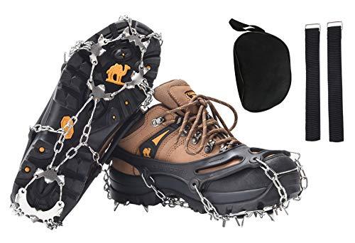 DAFENP Crampones Ligeros 19 Dientes Tacos con Cadena de Dcero Inoxidable Antideslizante Crampones Nieve Hielo para Zapatos Invierno Montañismo Escalada Alpinismo Cámping Acampada BZ0011-Black-XL