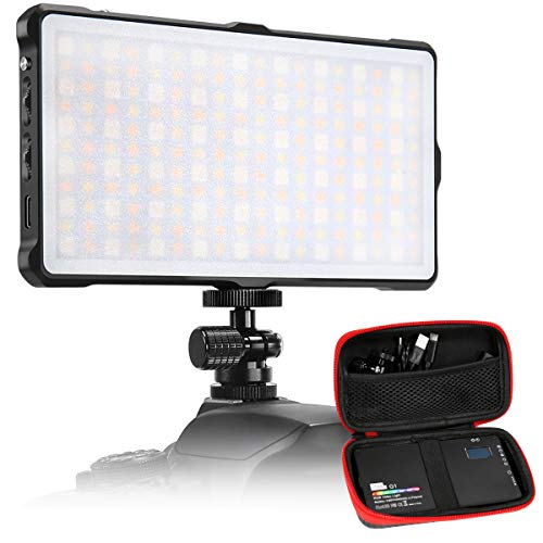 LED Videoleuchte Kamera RGB Pixel wiederaufladbare Farb videoleuchte im Taschenformat für die Kamera mit zweifarbigem 3200k-5600k, Power Bank um 360 ° verstellbares Trägersystem