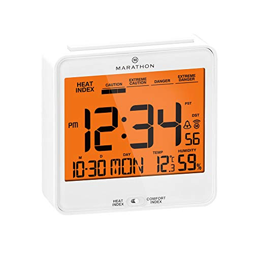 Atomic Alarm Clock with Heat and Comfort Index - Date and Indoor Temperature. Backlight, Snooze and Loud Alarm - Batteries Included -  (White) - Marathon CL030054WH