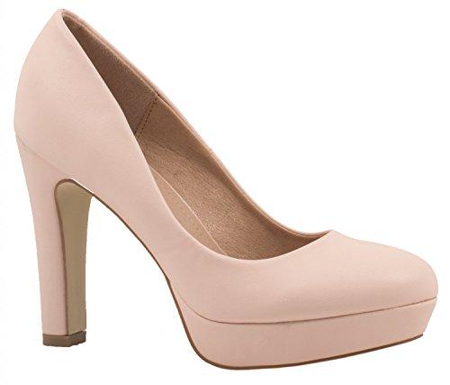 Elara Jumex Damen High Heels Schuhe Plateau Pumps Chunkyrayan E22321-Pink-38