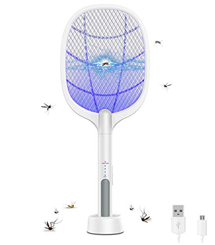 Large Electric Fly Swatter, Rechargeable Bug Zapper Racket, Mosquito Killer Racket for Indoor and Outdoor, 3-Layer Touch Mesh, USB Charge, 21.2'x 8.6'
