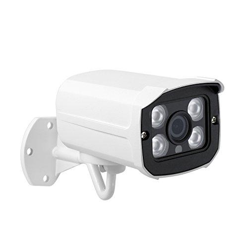 PoE HD 3MP Impermeable IP Cámara - Revotech® - H.265 1080P 2MP para Exteriores 4 Array LED Lente Gran Angular de Visión Nocturna Cámara Bala Seguridad ONVIF P2P CCTV Cámara con IR-Cut (I539-P Blanco)