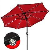 Sombrilla Parasol Jardin LED de luz Solar sombrillas Paraguas de Mercado Patio al Aire Libre Paraguas Auto LED de Carga de Jardín 3 M, sin la Base a Prueba de Viento (Color : Red)