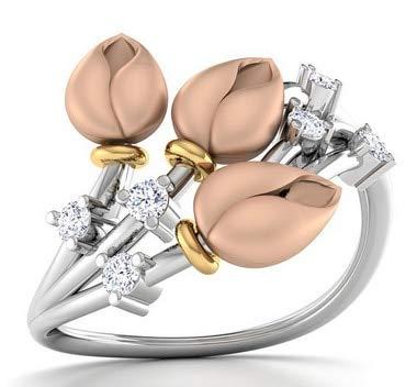BQZB Ring Blütenknospe Zirkon Ring Pflanze Tricolor Bohrring Kreative Hochzeit Ringe für Frauen Mode Geschenk Schmuck Trend