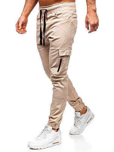 BOLF Herren Sporthose Trainingshose Jogginghose Fitnesshose Joggerhose Freizeithose Sport Style 11104 Beige S [6F6]