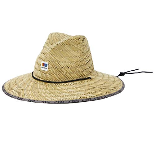 Brixton Wesley Straw Packable Fedora, TAN, M