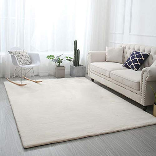 Super Soft Schlafzimmer Teppich Wohnzimmer Teppich für Garderobe Nachtdecke,Weiß,120x200cm