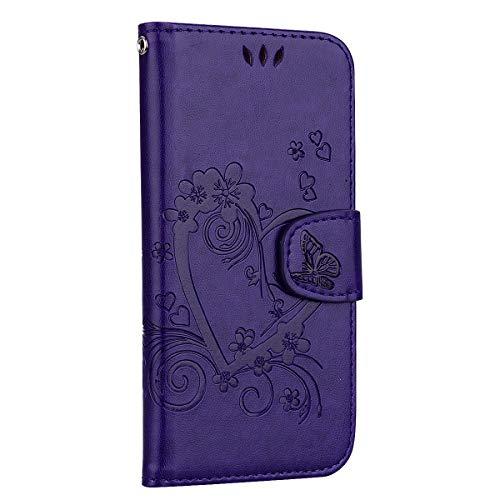 Handyhülle Cover kompatibel für Samsung Galaxy A10 / M10 Leder Hülle Liebes Herz Schmetterling Klapphülle Flip Hülle Tasche Etui mit kartenfach - Liebes Herz Lila