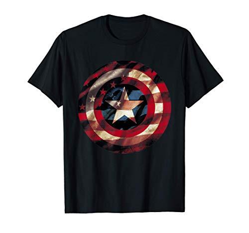 Marvel Captain America Avengers Shield Flag Graphic T-Shirt T-Shirt