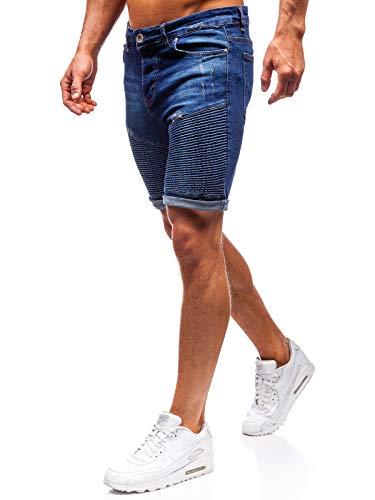 BOLF Homme Pantalon Court en Jean Jeans Short Used Look Destroyed Denim Style Regular Fit Temps Libre Casual Style 1058 Bleu foncé M [7G7]