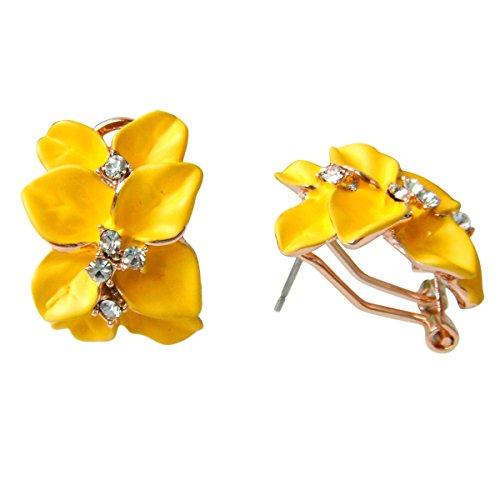 Navachi Omega orecchini placcati in oro da 18 k, smaltati, in cristallo, a forma di fiore con foglie e 18ct base metallo placcato oro, colore: Giallo, cod. HB6-2862-5
