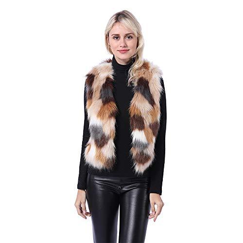 LHJ Womens Fashion Faux Fur Warm Short Faux Fur Vests Outwear Jacket