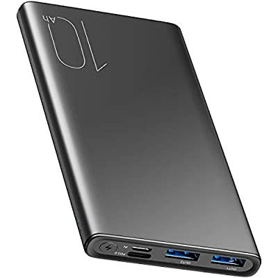 TOZO WB1 PD Portable Charger 10000mAh Slim and Light Fast Power Bank 18W High Charging Speed External Battery Pack with USB C Input/Output Compatiable for iPhone,iPad,Samsung,Gray