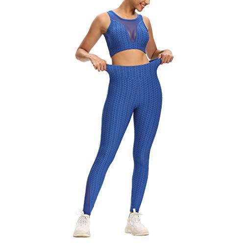 Mujeres sin Costuras 2 Piezas Trajes de Entrenamiento Gimnasio Yoga Leggings de Cintura Alta Conjuntos de Sujetadores Deportivos Chándal con Textura Ropa Deportiva (Royal Blue, Medium)