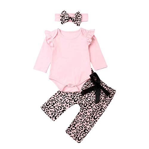 Geagodelia Babykleidung Set Baby Mädchen Langarm Body Strampler + Leopard Hose + Stirnband Neugeborene Kleinkinder Warme Babyset Kleidung (0-3 Monate, Pink)