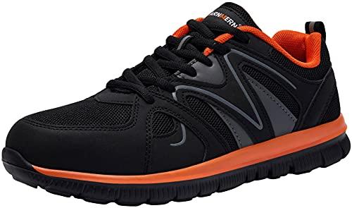 LARNMERN Zapatos de Seguridad Hombre Mujer con Punta de Acero Ligero Transpirable Cómodo Zapatillas Calzado Pies Anchos Cordones Trabajo 43 EU Naranja Negro