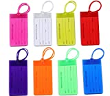 I-MART 8 Pcs Luggage Tags, with Strings, Name ID Card for Travel Suitcase, Baggage, Bag, Backpack, Silicone, Multicolored
