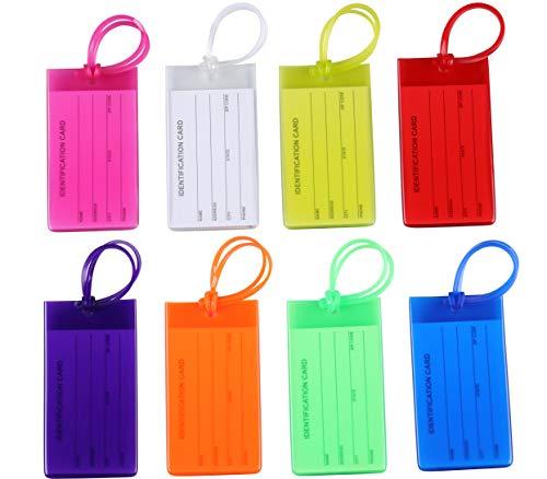 I-MART 8 pcs Etiquetas de equipaje con cuerdas, nombre ID tarjeta para viaje maleta, equipaje, bolsa, mochila, silicona, multicolor