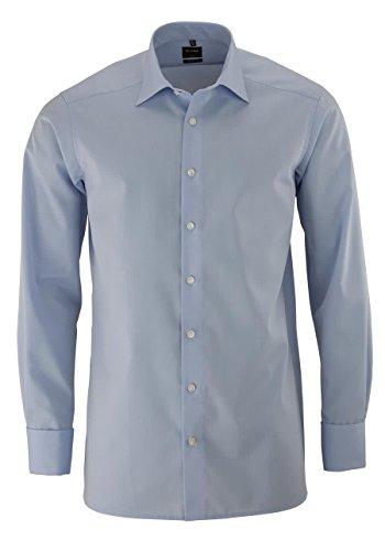 OLYMP Modern Fit overhemd dubbele manchet, blauw Strijkvrij - Maat 46